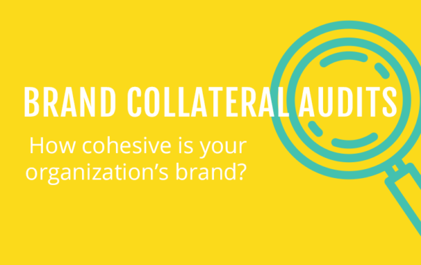 """Text in white """"Brand collateral audits, How cohesive is your organization's brand written across the icon of a magnifying glass with an aquamarine colour. Background color yellow."""